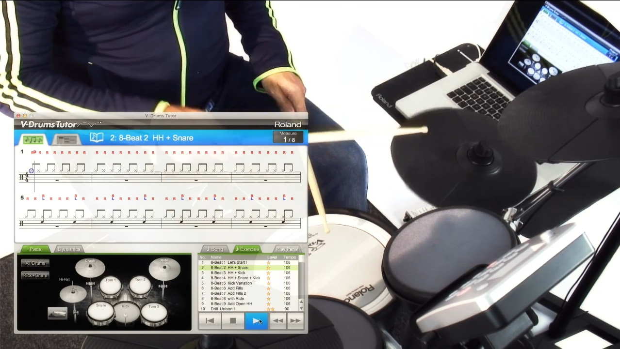 learn to play drums with dt 1 v drums tutor software poweron. Black Bedroom Furniture Sets. Home Design Ideas